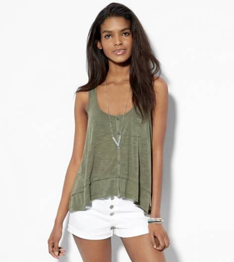 Dusty Olive AEO Flowy Button Front Tank