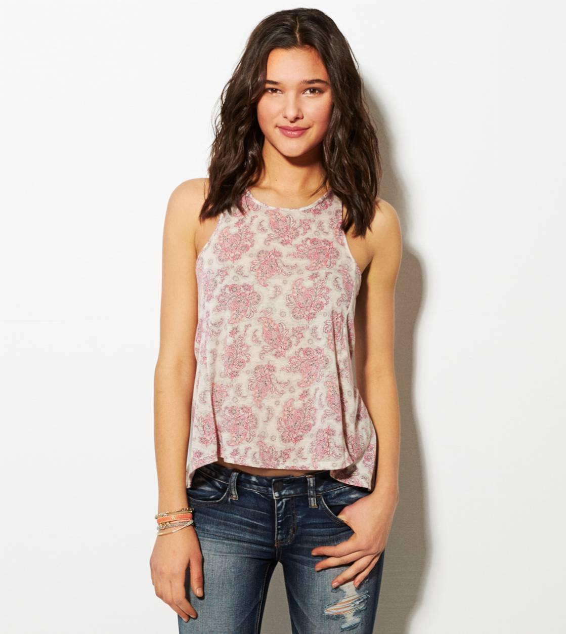 Pink AE Printed Zip-Back Tank