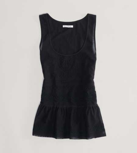 AE Embroidered Mesh Peplum Tank