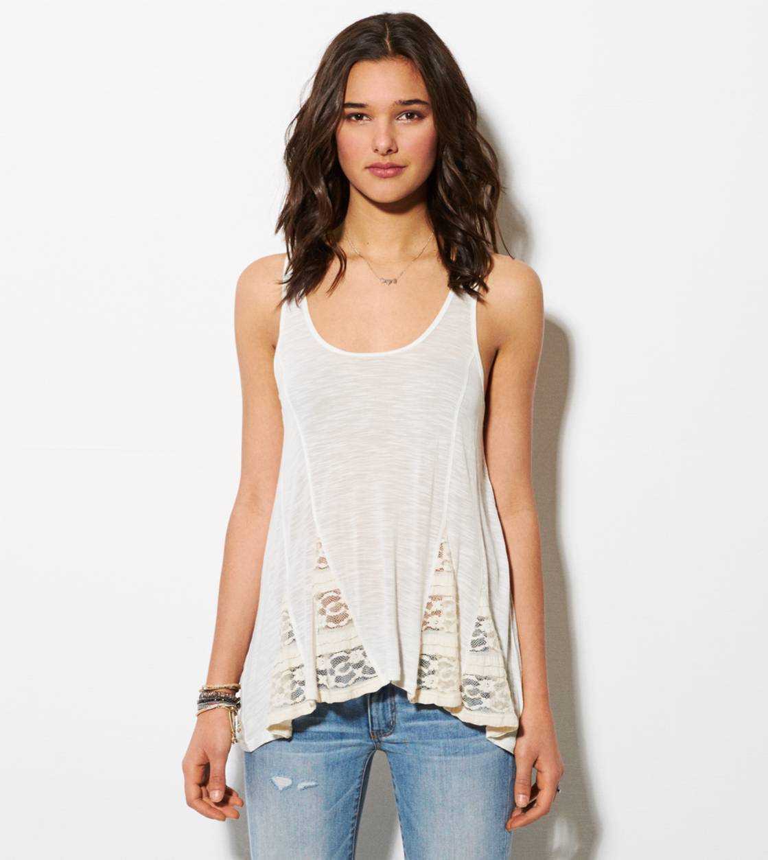 Chalk AE Paneled Lace Tank