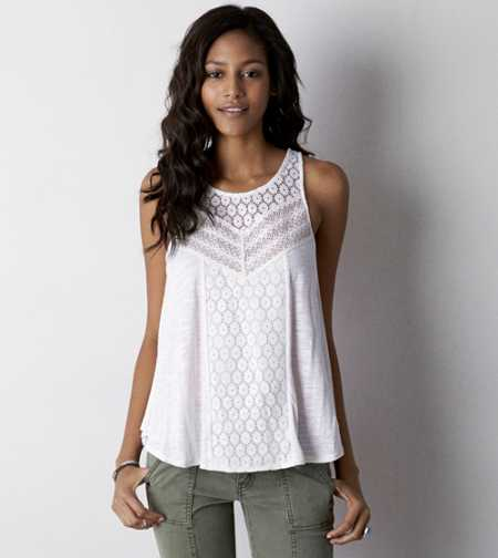 AE Mixed Lace Tank