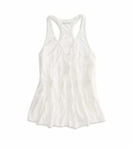 AE Lace Inset Button Down tank