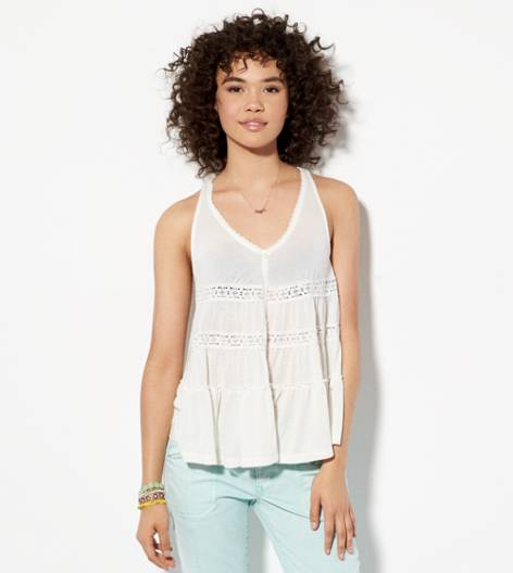 Chalk AE Lace Inset Button Down tank