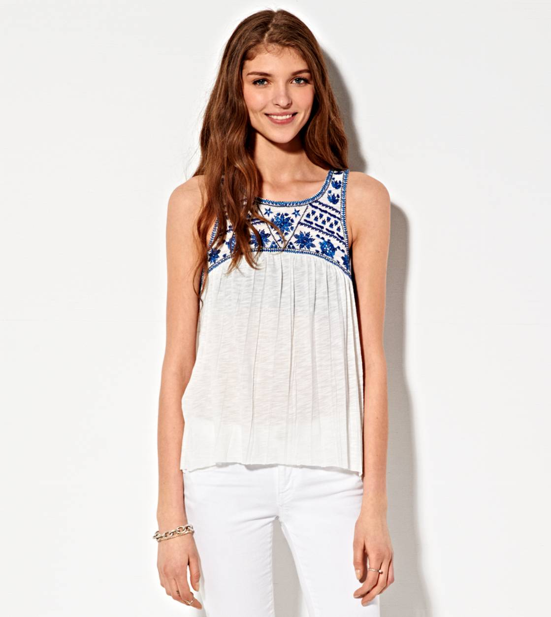 Chalk AE Crocheted Crinkle Tank