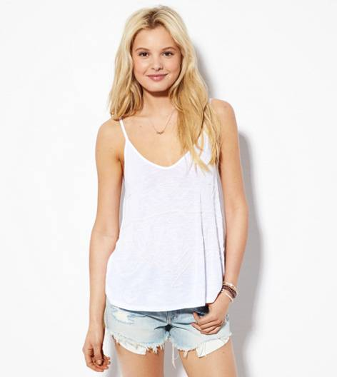 White  AEO Lace Embellished Tank