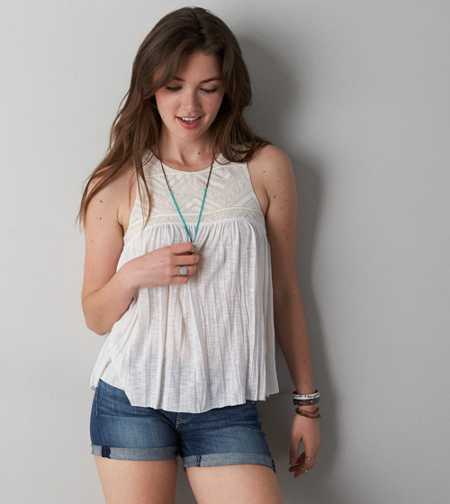 AE Embroidered Crinkle Tank