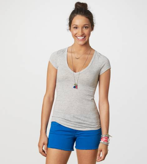 Grey AE Every Wear Ruched T-Shirt