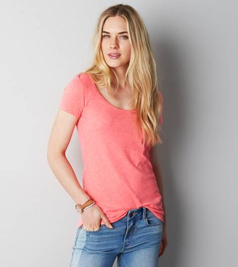 Coral Burst AE Real Soft® Favorite Scoop T-Shirt