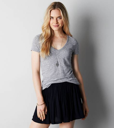 Grey AEO Real Soft® Favorite V-Neck T-Shirt