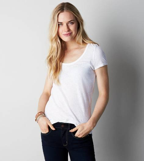 White  AEO Real Soft® Favorite Scoop T-Shirt