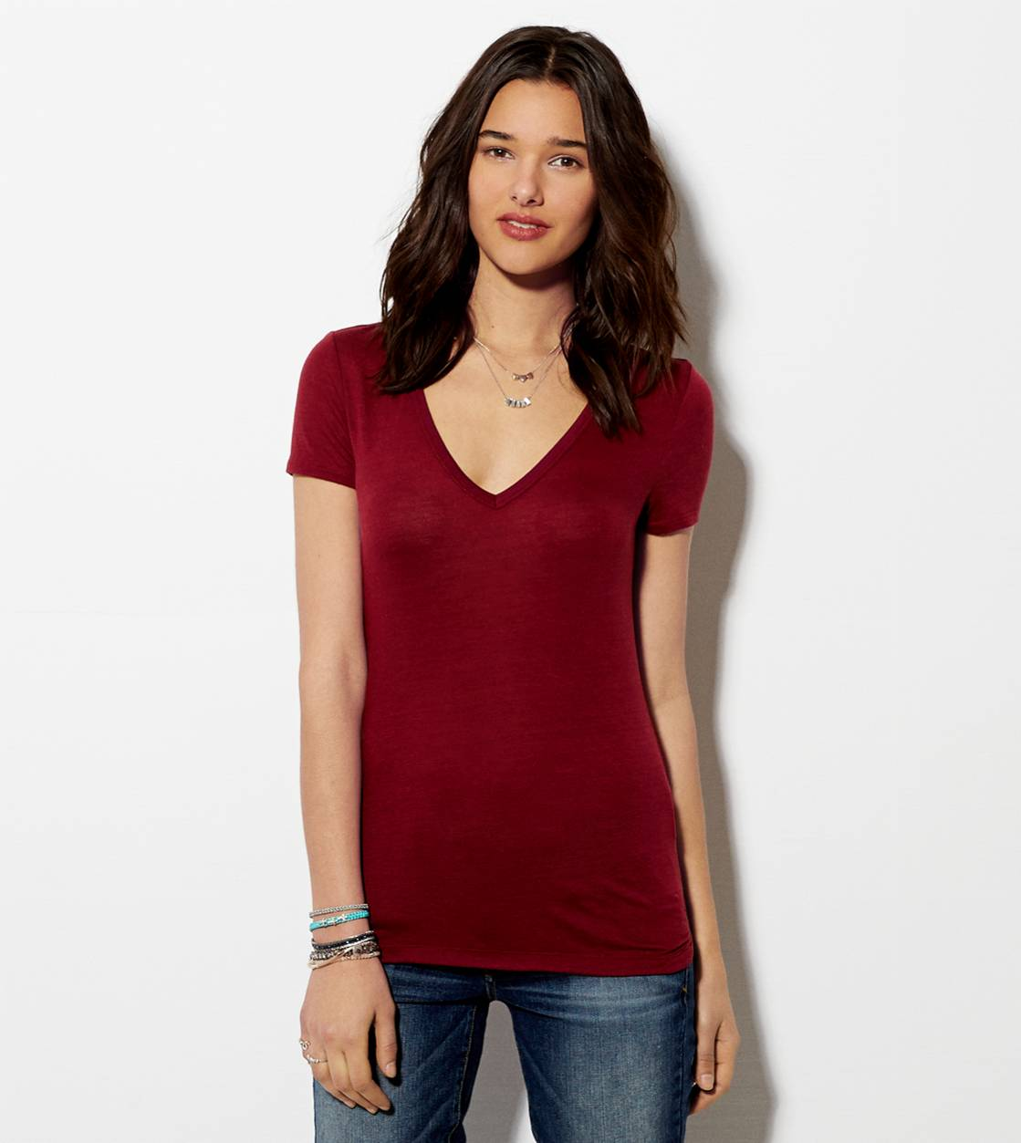 Cranberry AE Favorite V-Neck T-Shirt