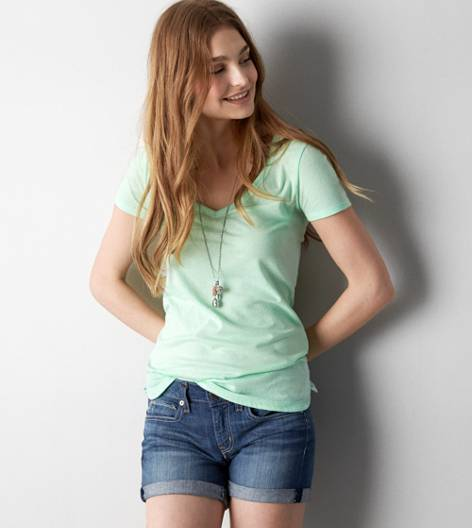 Cupcake Green AEO Real Soft® Favorite V-Neck T-Shirt