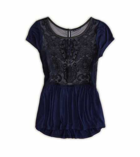 AE Embroidered Mesh Peplum T-Shirt