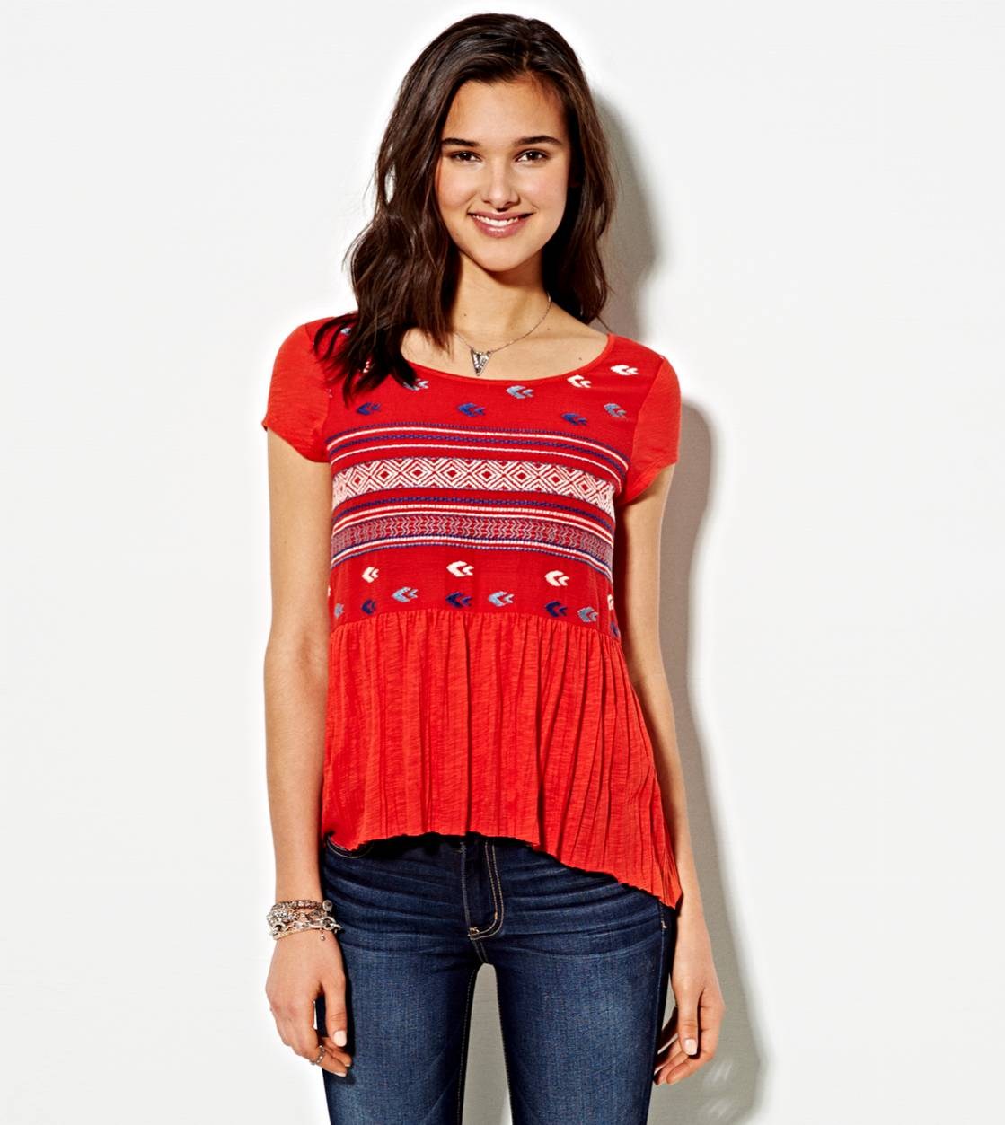 Red AE Embroidered Crinkle T-Shirt