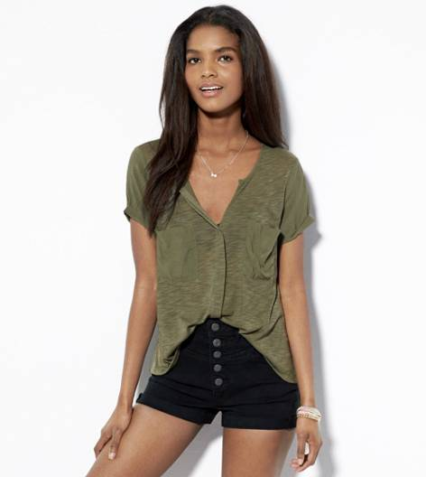 Dusty Olive AE Button Front Pocket T-Shirt