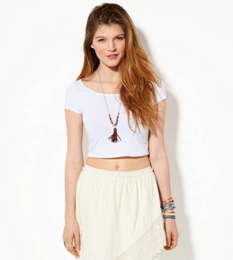 White  AE Cutout Cropped T-Shirt