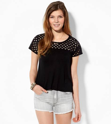 Black AE Eyelet Paneled T-Shirt