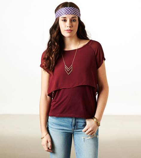 Burgundy AE Layered Chiffon T-Shirt