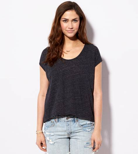 True Black AE Zip Back Dolman T-Shirt