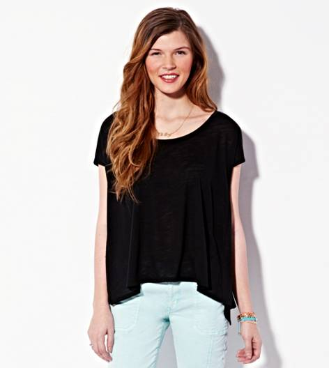 True Black AE Drapey Cropped T-Shirt