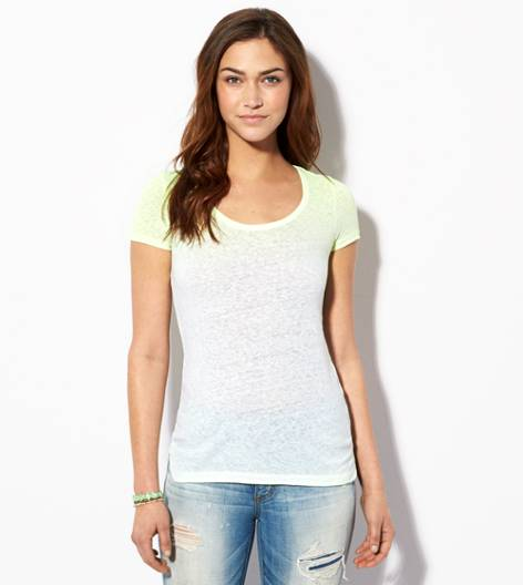 Neon Lemon AE Dip Dyed Favorite Scoop T-Shirt