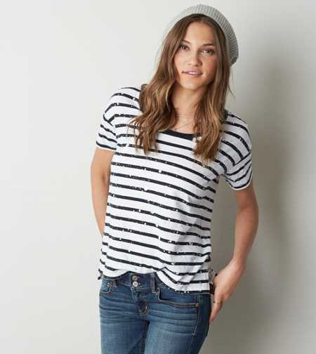 AEO Splatter Striped T-Shirt