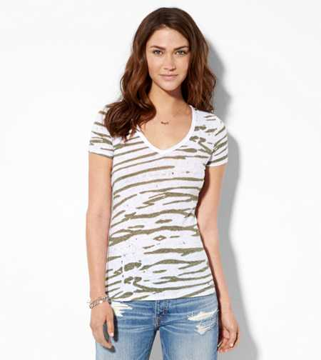 AE Zebra Print V-Neck T-Shirt - Buy One Get One 50% Off