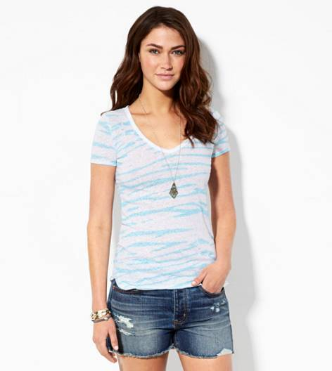 Brilliant Blue AE Zebra Print V-Neck T-Shirt