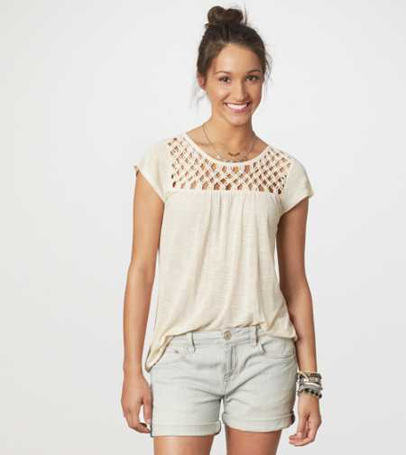 AE Knotted Zip-Back Tee - Take 40% Off