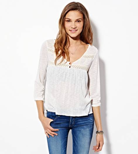 Chalk AE Lace Paneled Top