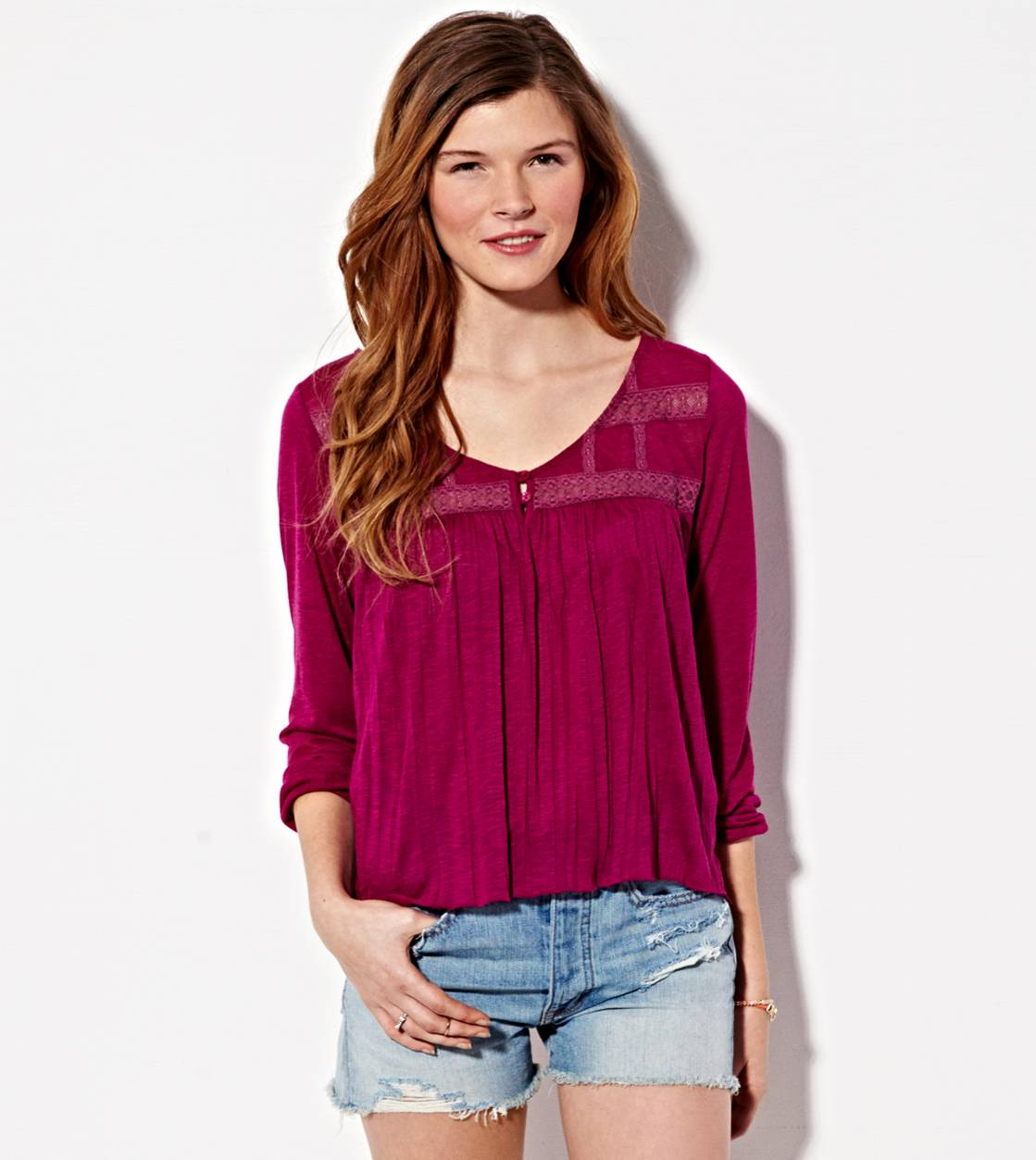 Purple AE Lace Paneled Top