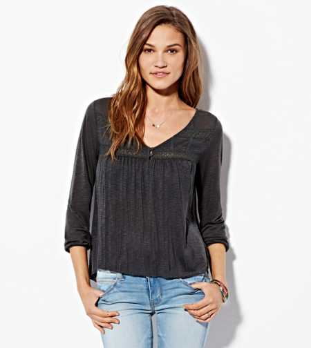 AE Lace Paneled Top