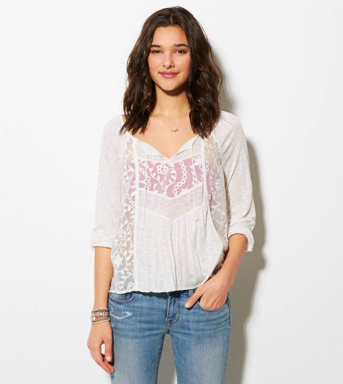 Chalk AE Mixed Lace Boho T-Shirt