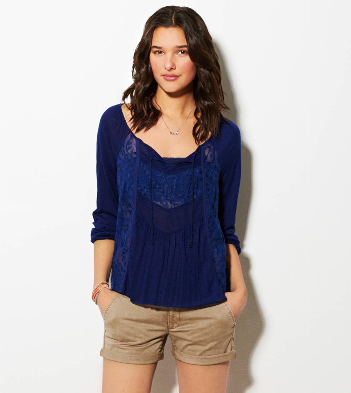 Evening Blue AE Mixed Lace Boho T-Shirt