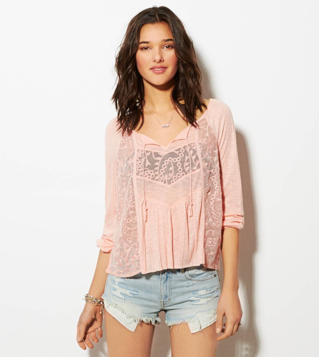 Coral Sun AE Mixed Lace Boho T-Shirt