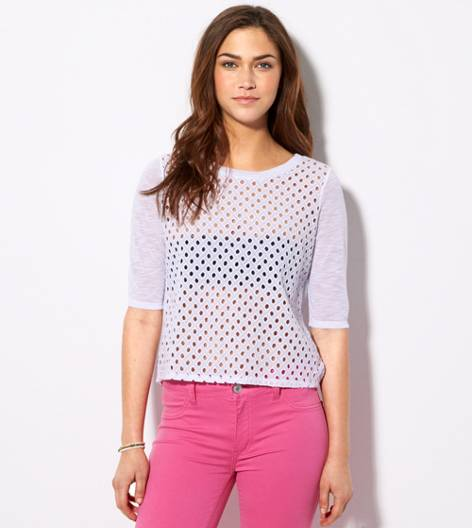 White  AE Cutout Crop Top