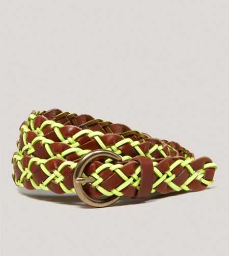 AEO Braided Neon Leather Belt