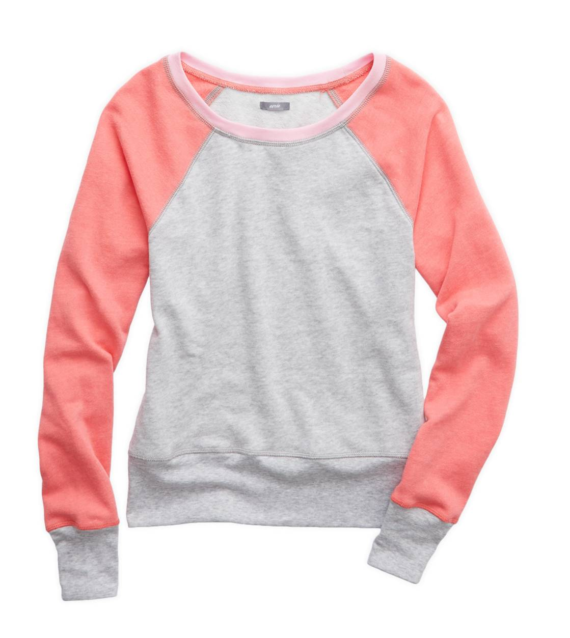 Medium Heather Grey Aerie Raglan Crewneck Sweatshirt
