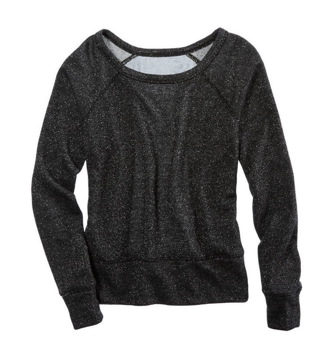 True Black Aerie Chiffon Back Sparkle Sweatshirt