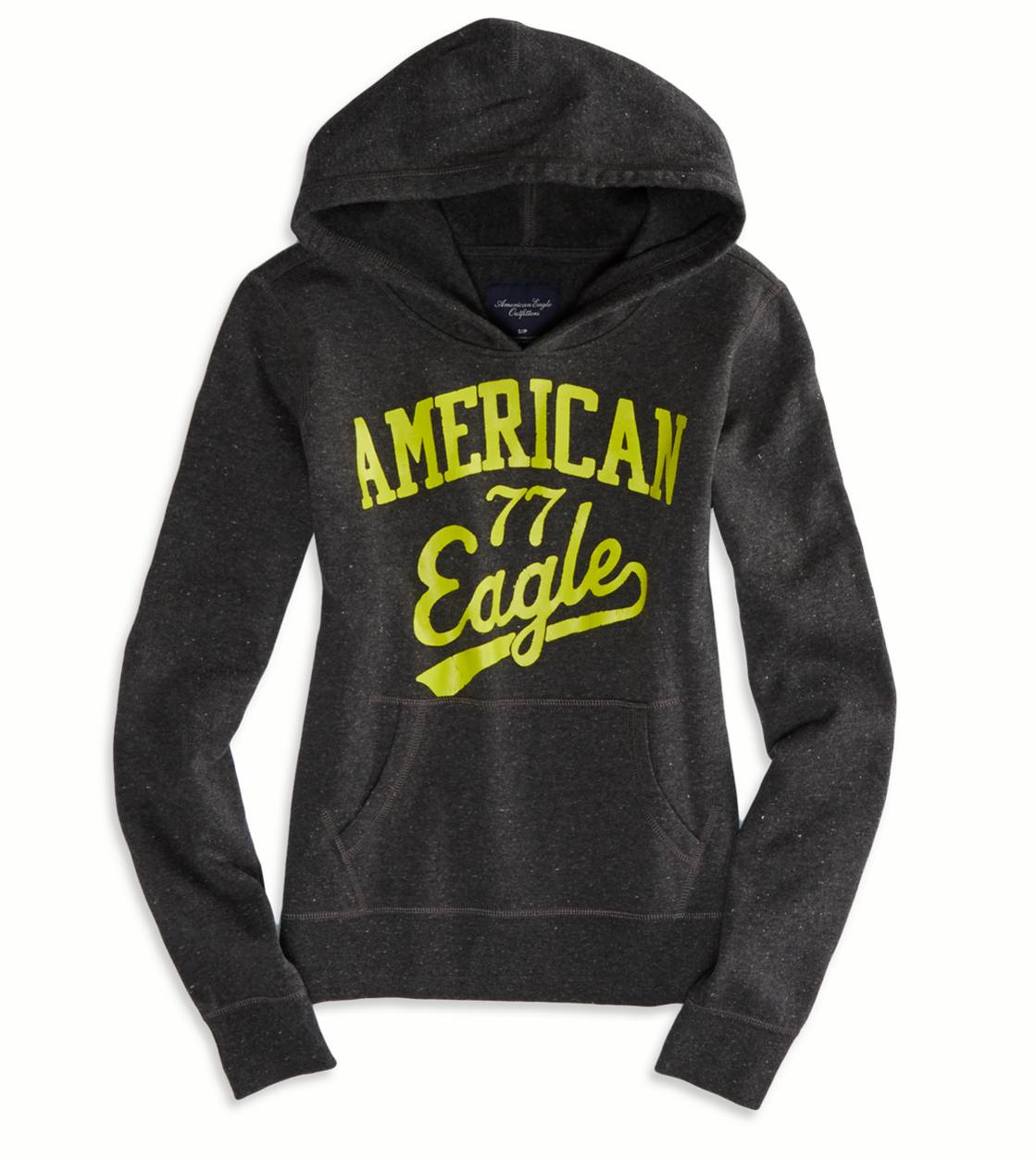Dark Heather Grey AEO Factory Hooded Pop Over