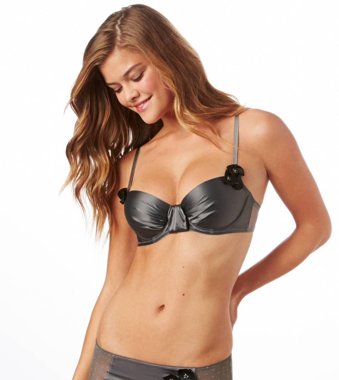 Pewter Holly Floral Applique Pushup Bra