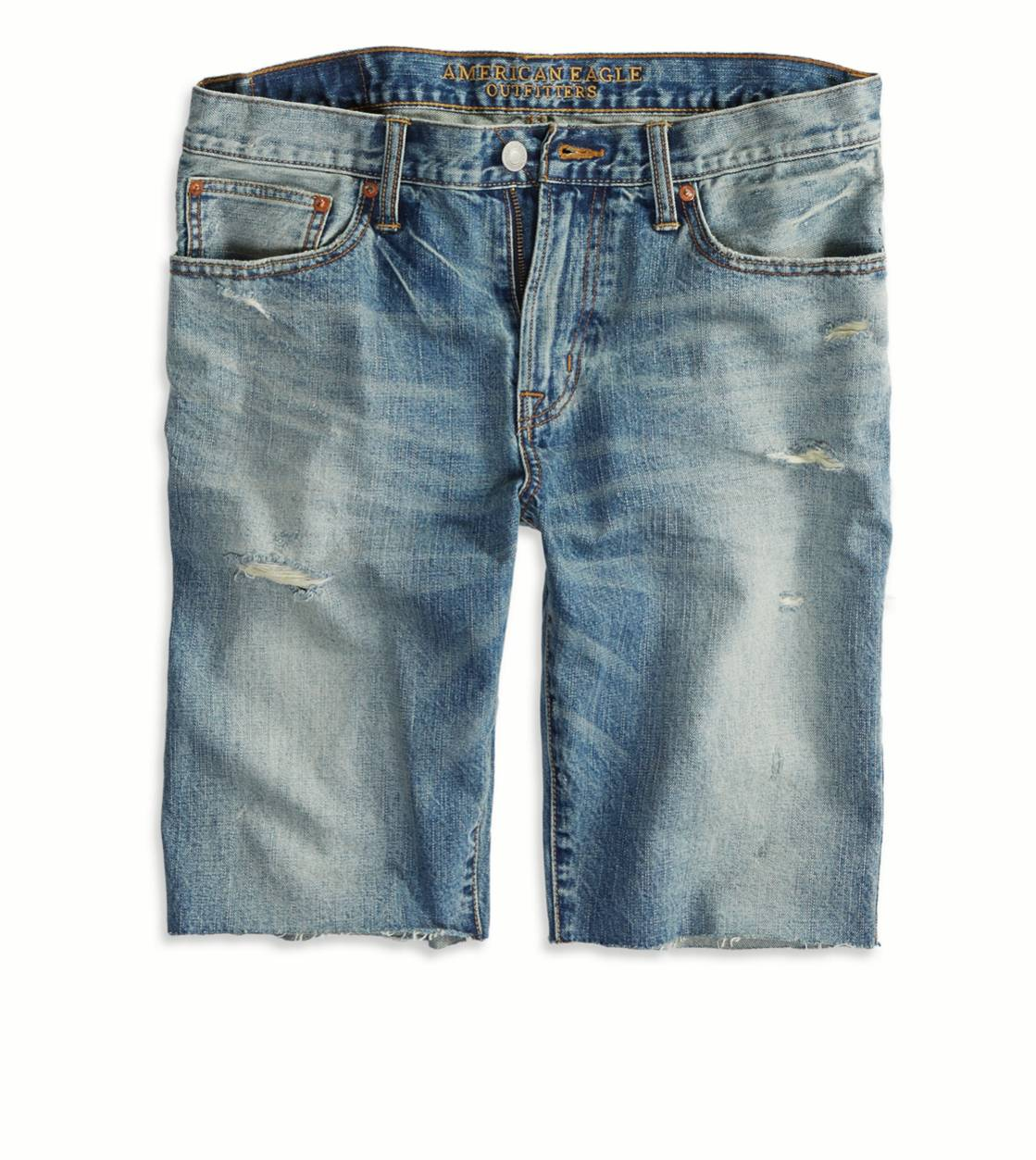 Light Clean Indigo AE Destroyed Denim Cutoff Short