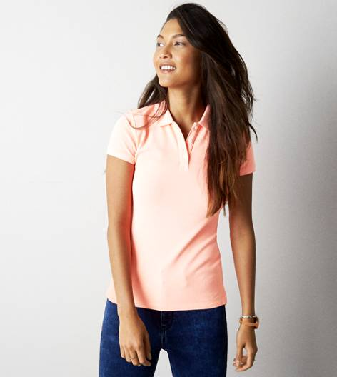 Coral Burst AEO Short Sleeve Polo