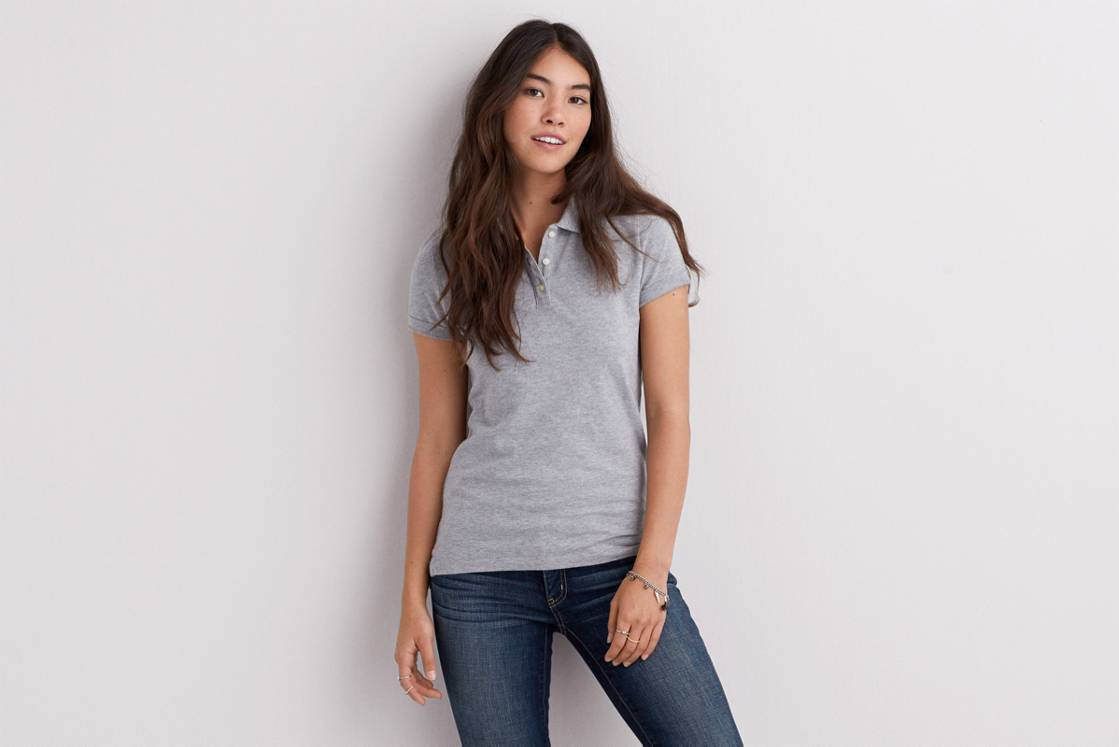 Medium Heather Grey AE Short Sleeve Polo