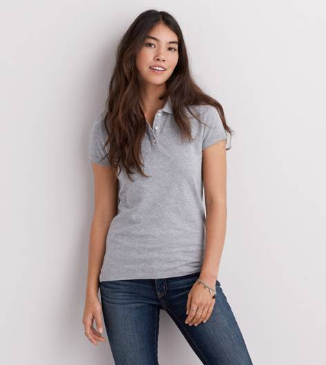 Medium Heather Grey AEO Short Sleeve Polo