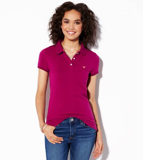 Fantasy Fuchsia AEO Short Sleeve Polo