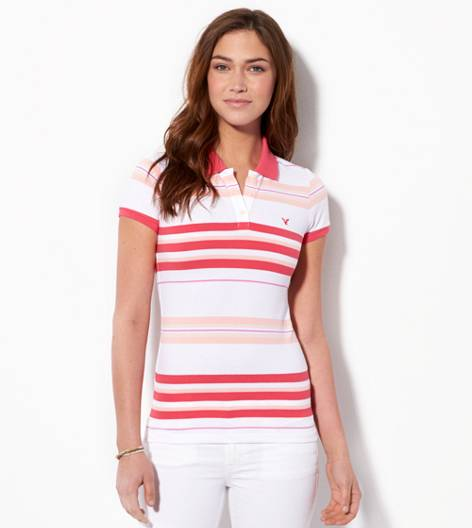 Pink Bikini AE Short Sleeve Striped Polo