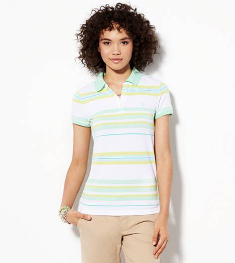 Cupcake Green AE Short Sleeve Striped Polo