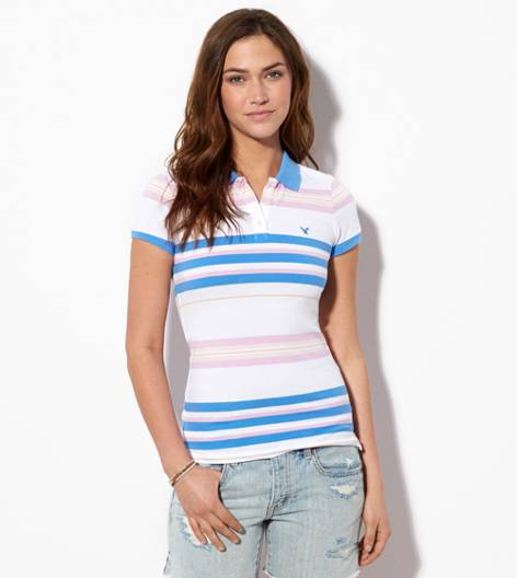 Sapphire Ice AE Short Sleeve Striped Polo