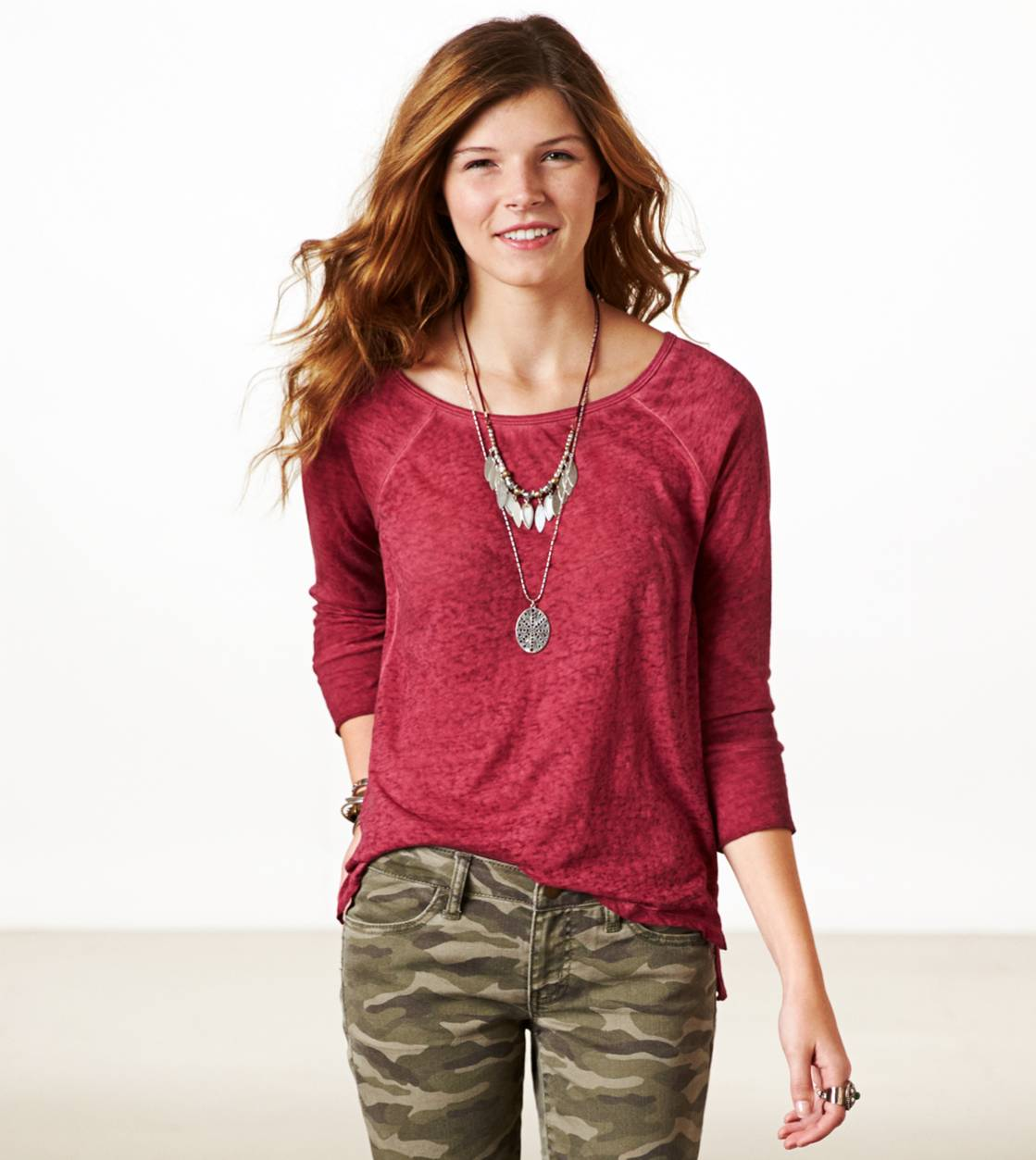 Cranberry AE Burnout Vented T-Shirt